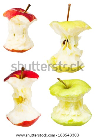 set of apple cores isolated on white background - stock photo