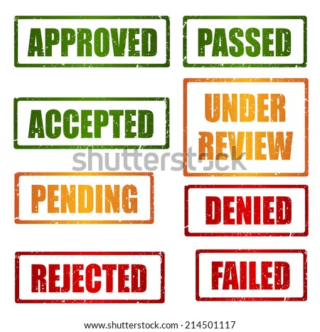 Set of approval , rejected, pending, under review grunge rubber stamps - stock photo