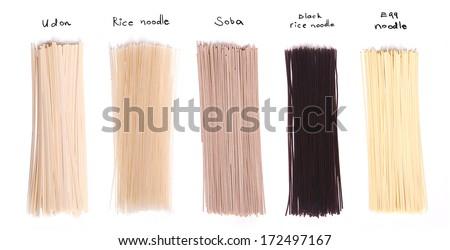set of asian noodles isolated on white background - stock photo