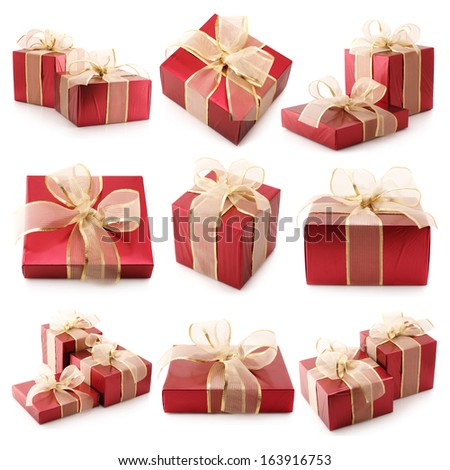 Set of assorted gifts isolated on white background. - stock photo