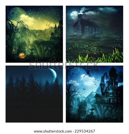 Set of assorted spooky backgrounds for your design - stock photo