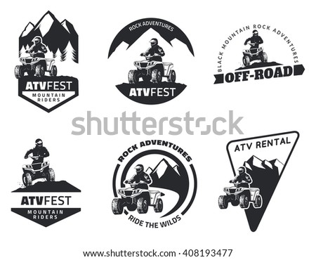Set of ATV emblems, badges and icons. All-terrain vehicle off-road design elements. - stock photo