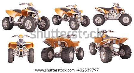 Set of ATV quad bike isolated on white background - stock photo