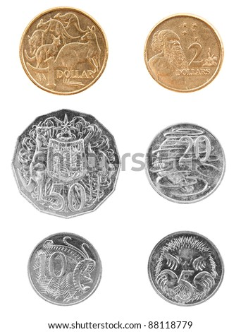 Set of Australian coin currency money, including 5, 10, 20 and 50 cent coins, plus 1 and 2 dollars, isolated on white - stock photo