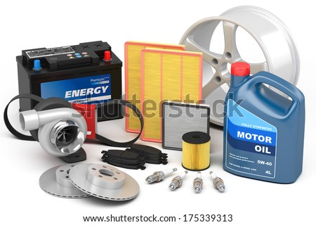 Set of auto parts isolated on white background - stock photo