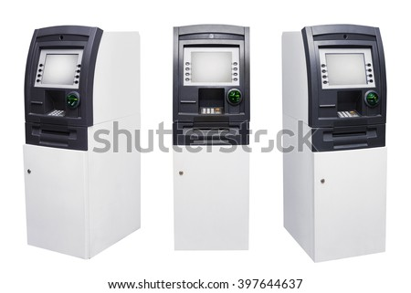Set of Automated Teller Machine or ATM isolated over white background - stock photo