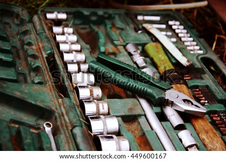 Set of automotive tools - stock photo