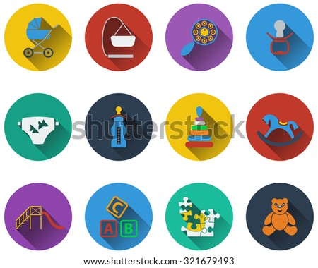 Set of baby icons in flat design. Raster illustration. - stock photo