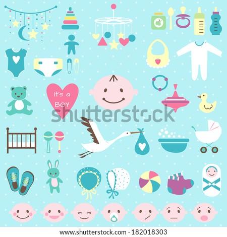 Set of baby shower flat elements isolated on white background.  - stock photo