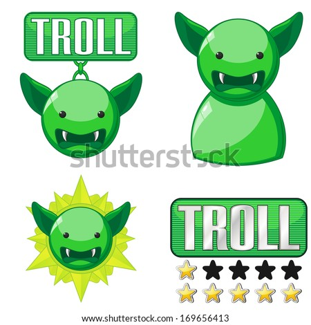 Set of badges and icons for internet trolls - stock photo