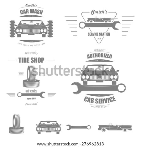 Set of Badges of Car Services: Tire Shop, Car Wash, Service Station, Authorized Car Service. And Separately Some Elements. - stock photo