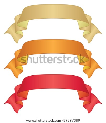 Set of banners modern ribbons, different colors - stock photo
