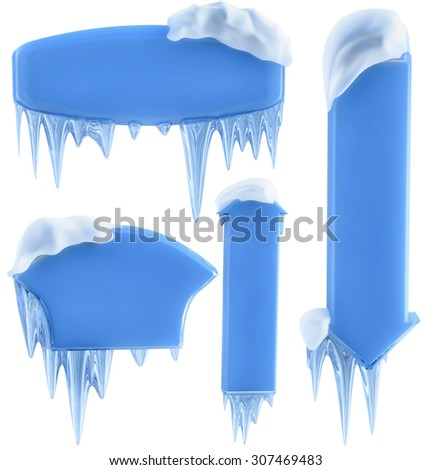 set of banners with snow and icicles, as a symbol winter holidays - stock photo