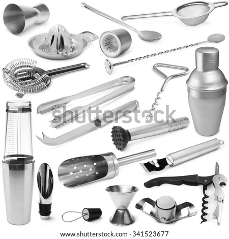 Set of barman equipment on white background - stock photo