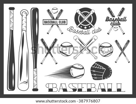Set of baseball club emblem, label, badges, logo and design elements. Sport icons in vintage style. Baseball bat, ball, glove. Crossed bats. - stock photo