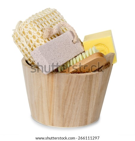 Set of bath accessories isolated on white background - stock photo