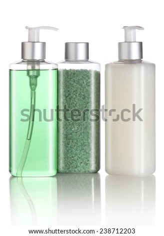Set of bath salt, shampoo and liquid soap isolated - stock photo