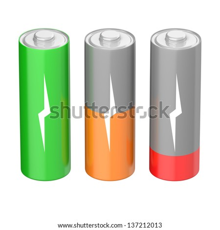 Set of batteries with different charging levels, isolated on white background - stock photo