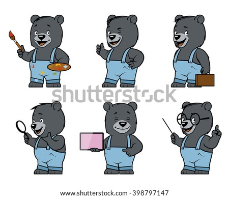 Set of bear characters in different poses - stock photo