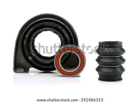 Set of bearing of the propeller shaft support bearing and shaft seal. Isolate on white. - stock photo