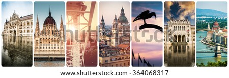 set of beautiful buildings and sights of Budapest at day and evening time - stock photo