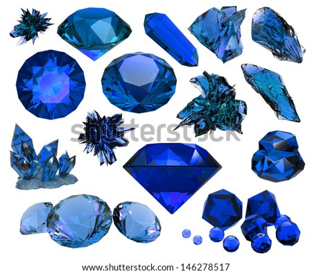 set of beautiful crystals and gems isolated - stock photo