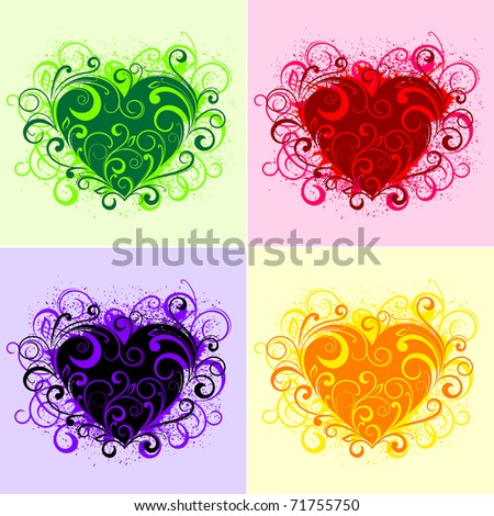 Set of beautiful floral heart elements isolated on white. Vector version also available in gallery - stock photo