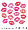Set of beautiful red lips on white - stock photo