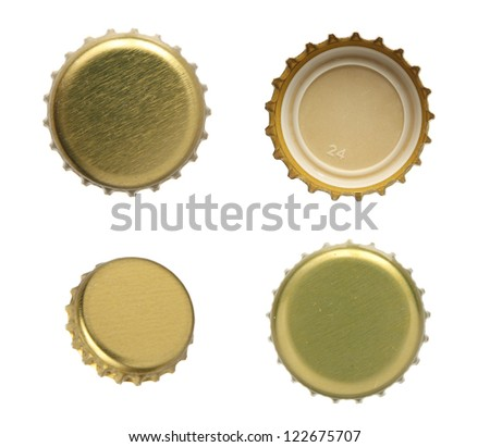 Set of beer caps on a white background. - stock photo
