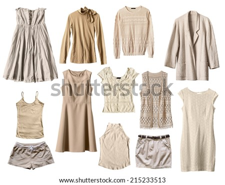 Set of beige female clothes isolated over white - stock photo