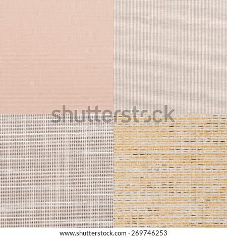 Set of beige vinyl samples, texture background. - stock photo
