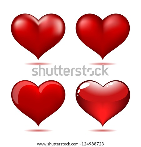 Set of Big Red Hearts - stock photo