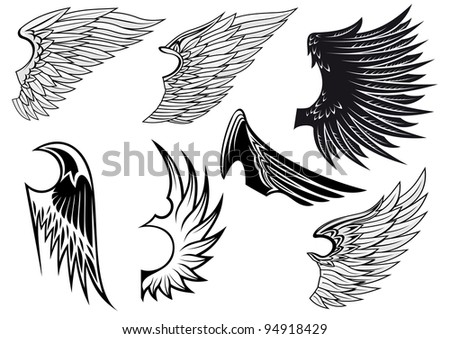 Set of bird wings for heraldry design isolated on white background, such a logo. Vector version also available in gallery - stock photo