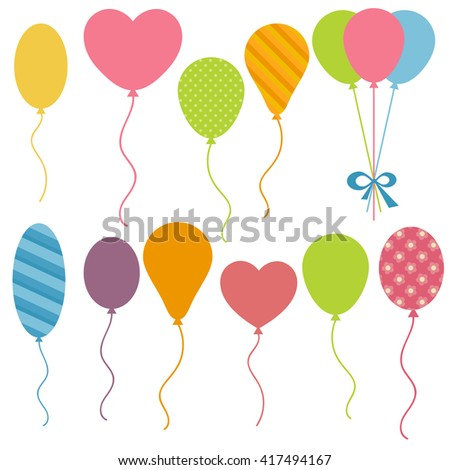 Set of Birthday balloons. Raster version - stock photo