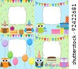 Set of birthday cards with cute owls. Raster version. - stock photo