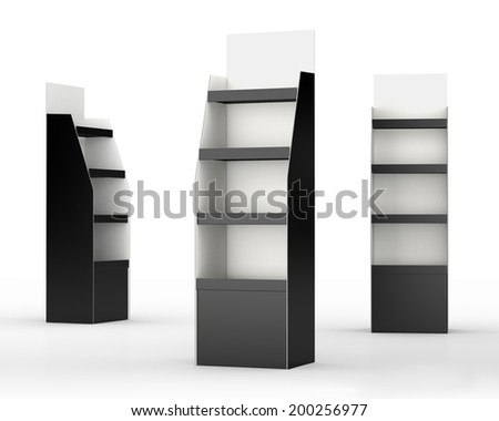 set of black and white carton displays with shelves at a different angle on white. render - stock photo