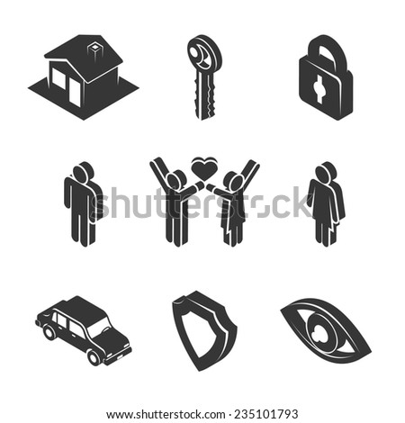 Set of Black and White Family and Property Icons in Three Dimensional Graphic Design on White Background. - stock photo