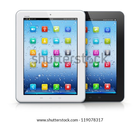 Set of black and white glossy tablet PC mobile computers with colorful icon interface isolated on white background with reflection effect - stock photo