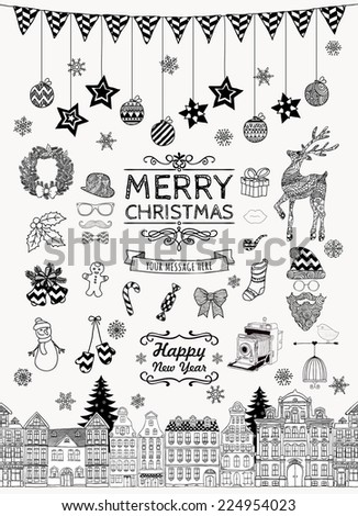 Set of Black and White Hand-drawn Outlined Christmas Doodle Icons. Xmas Illustration. Text Lettering. Party Elements, Cartoons. Isolated - stock photo
