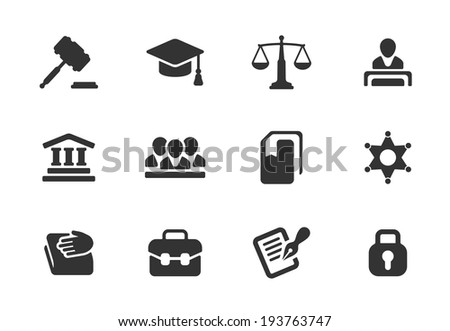 Set of black and white law and justice icons with a judge  gavel  lawyer  mortarboard hat  scales  court  jury  sheriffs star  law books  briefcase  scribe  and lock for a prison - stock photo