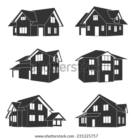 set of black and white silhouette icons of houses - stock photo