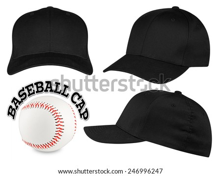 Set of black baseball caps with baseball - stock photo
