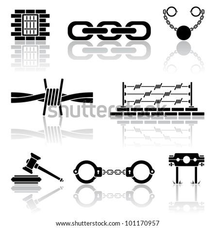 Set of black crime icons, illustration - stock photo
