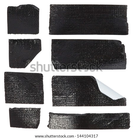 Set of black duct tape slices isolated on white - stock photo