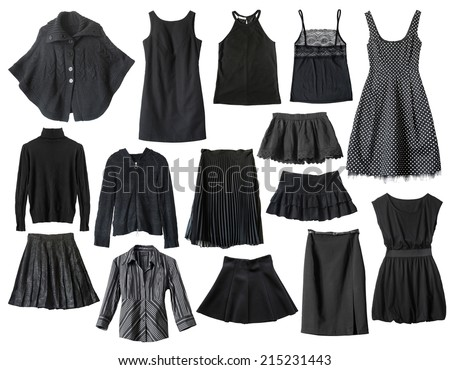 Set of black female clothes isolated over white - stock photo