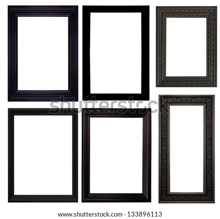 Set of black frames isolated white background. - stock photo