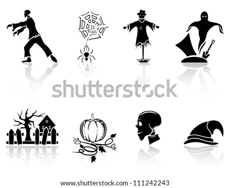 Set of black Halloween icons on white background, illustration - stock photo