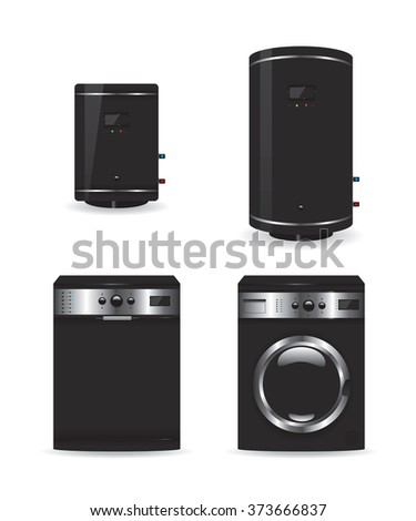Set of black household appliances  boiler and washing machine - stock photo