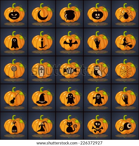 Set of black icons on background of halloween - stock photo