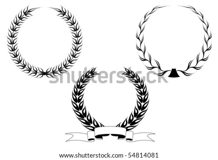 Set of black laurel wreaths. Vector version also available in gallery - stock photo